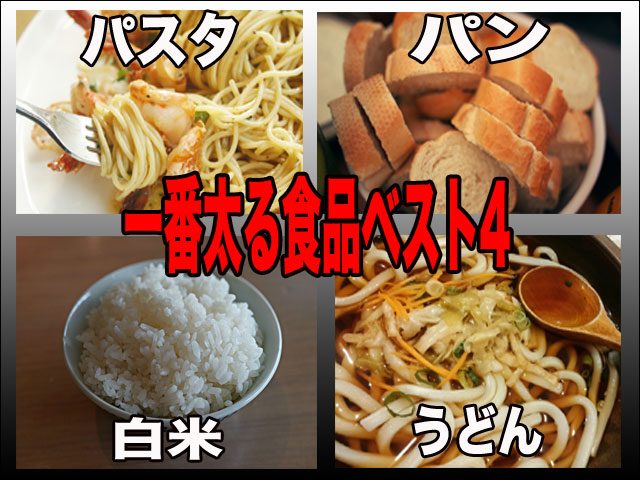 一番太る食べ物ベスト4白米、うどん、パン、パスタ