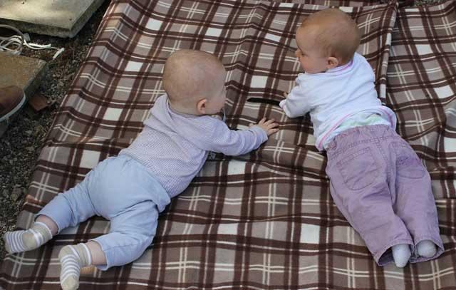 赤ちゃんが二人毛布の上に寝転がっている写真