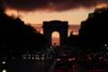 パリ;凱旋門;夕暮れ;綺麗