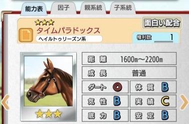 種牡馬タイムパラドックス(★3)