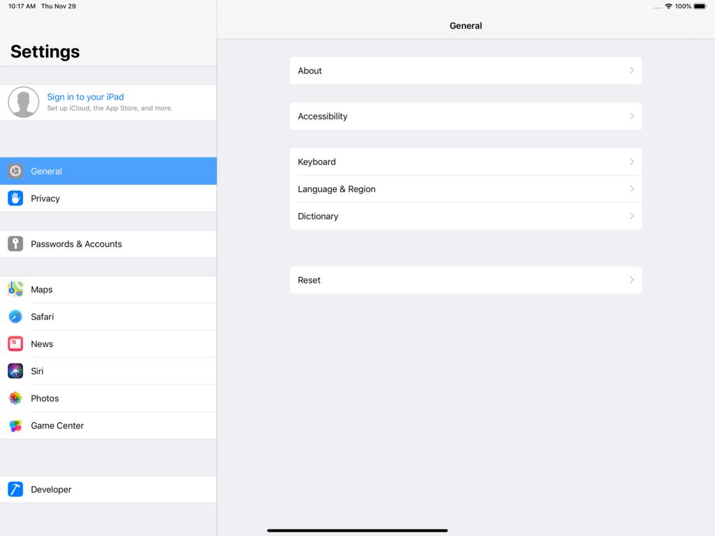 iPad Pro 12.9インチでの設定画面