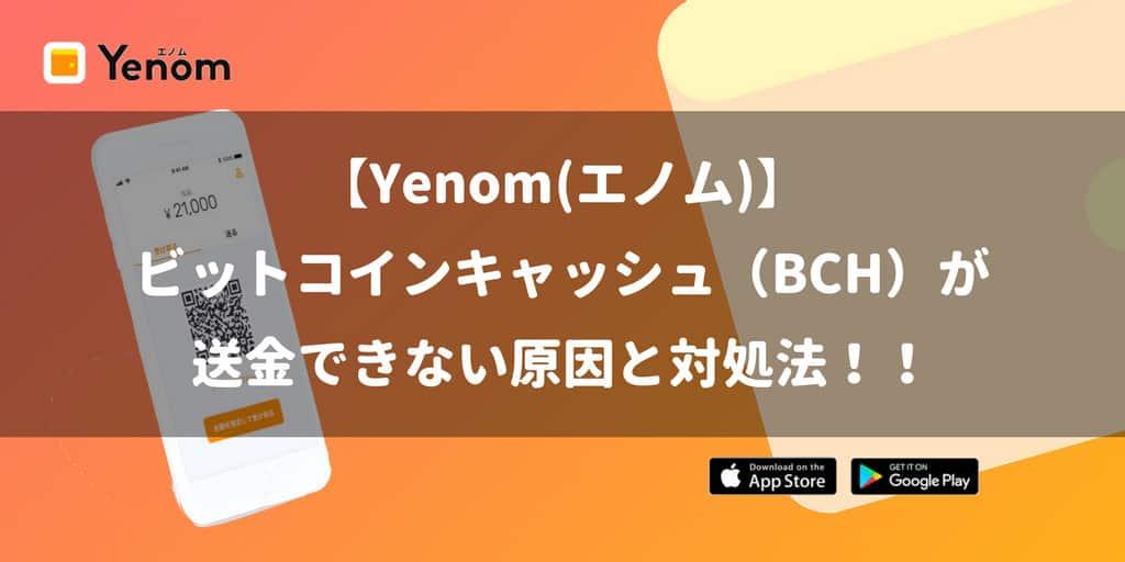 【Yenom(エノム)】にビットコインキャッシュ(BCH)が送金できない原因と対処法