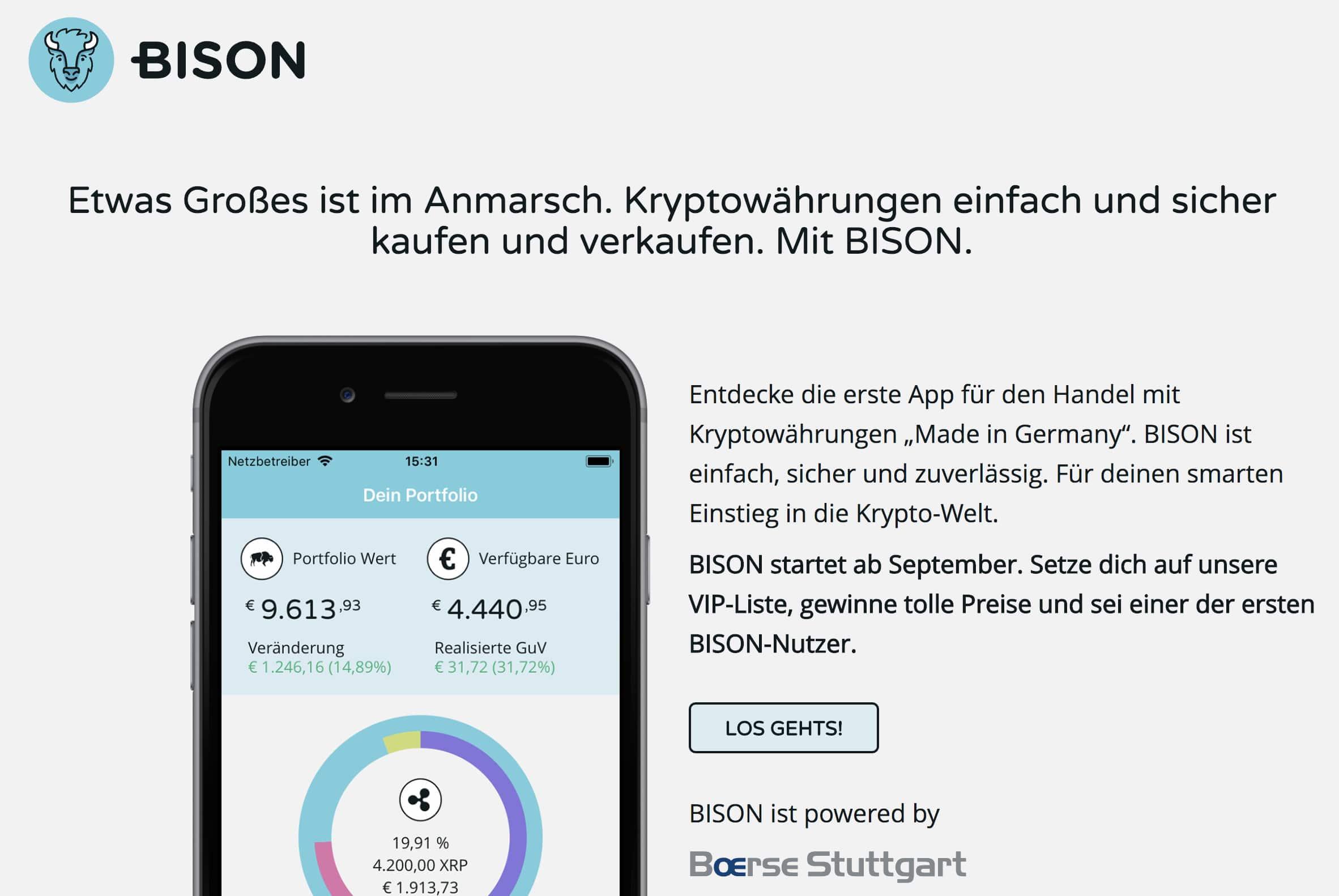 仮想通貨取引アプリ「Bison」