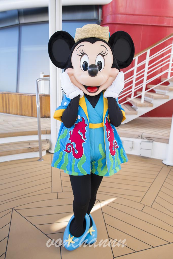 """水着を着て""""お顔持ち""""をするミニーマウス"""