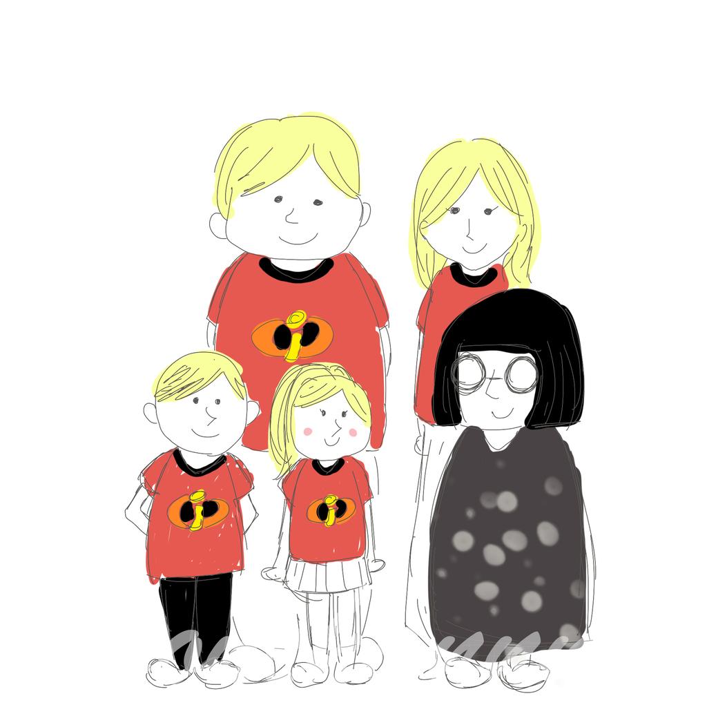 インクレディブル・ファミリーの仮装をする家族