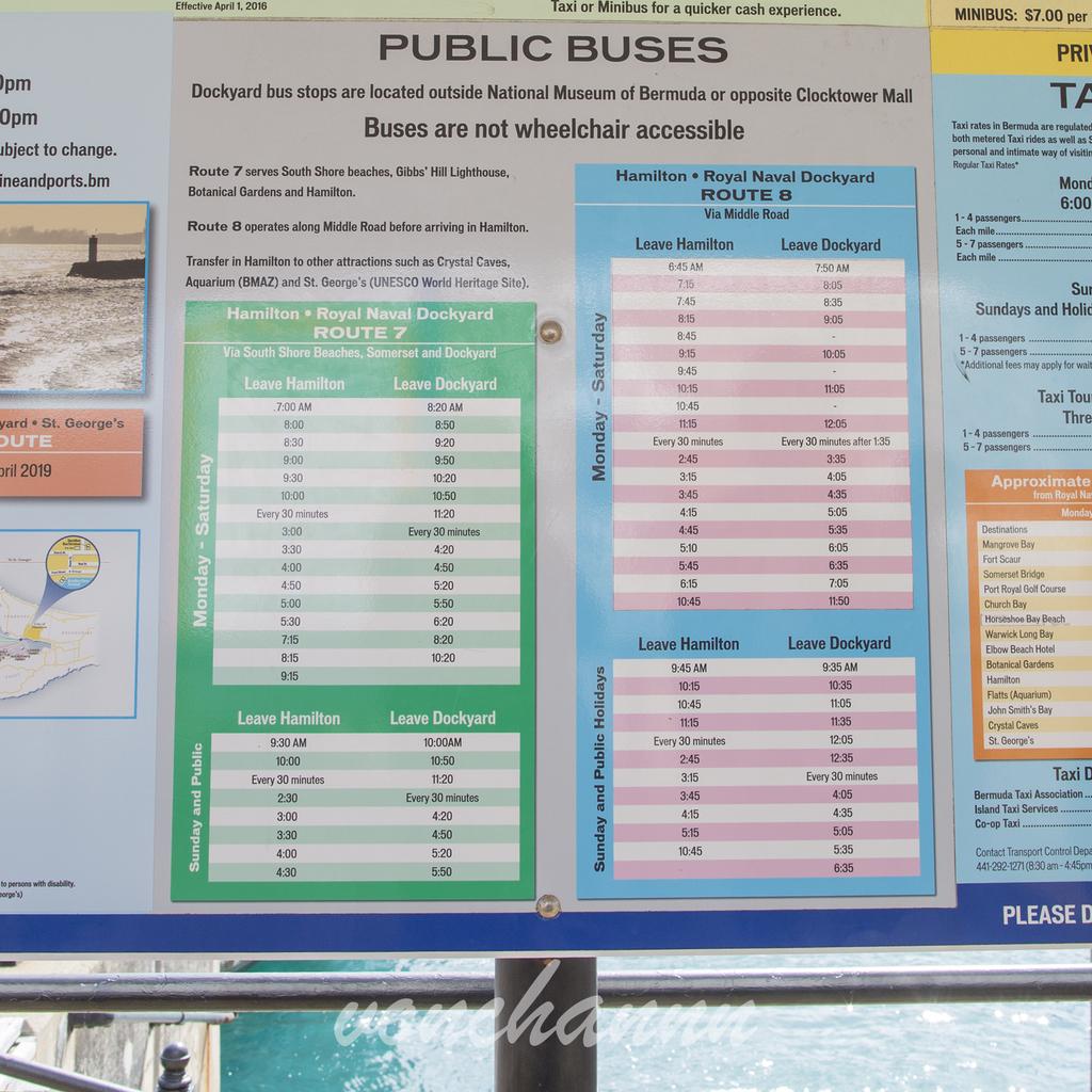 バミューダのバスの時刻表