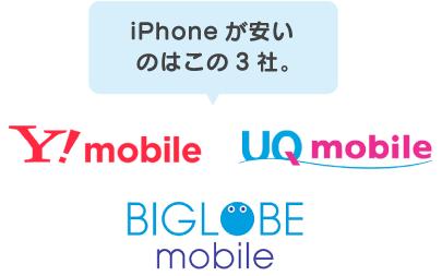 iPhoneが安いのはこの3社