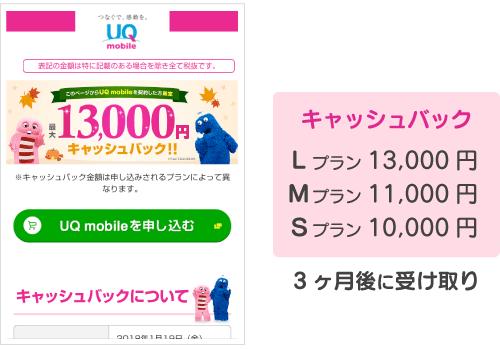 キャッシュバック:10000円〜13000円。3ヶ月後に受け取り