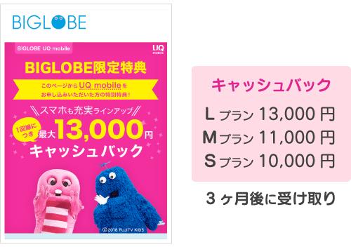 キャッシュバック:10000円〜13000円、3ヶ月後に受け取り