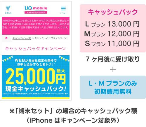 キャッシュバック:11000円〜13000円+初期費用無料(M・Lプランのみ)。7ヶ月後に受け取り