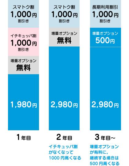 2年目はイチキュッパ割がなくなって千円高く、3年目は増量オプションが有料になって500円高くなる