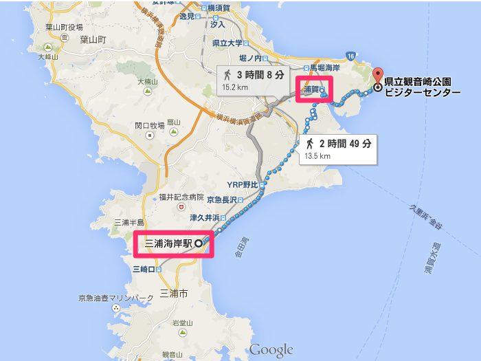 Google_マップ_三浦海岸_浦賀