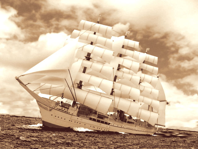 帆船「日本丸」合成写真