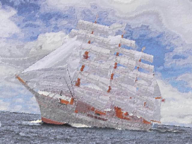 帆船「日本丸」合成油絵