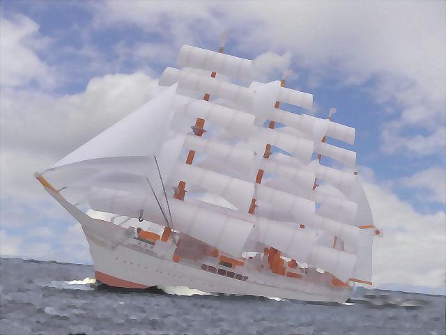 帆船「日本丸」合成水彩画