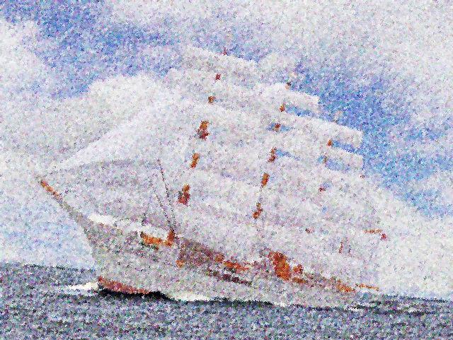 帆船「日本丸」合成点描