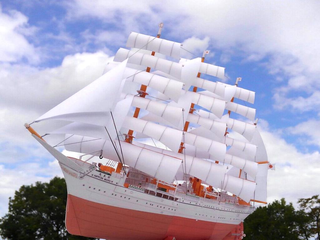 帆船「日本丸」ペーパーモデルアート屋外写真