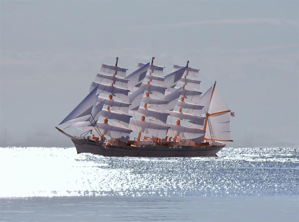 帆船「日本丸」ペーパーモデルアート 画像加工