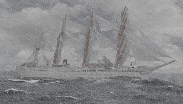日本丸 外洋 横殴りの雨