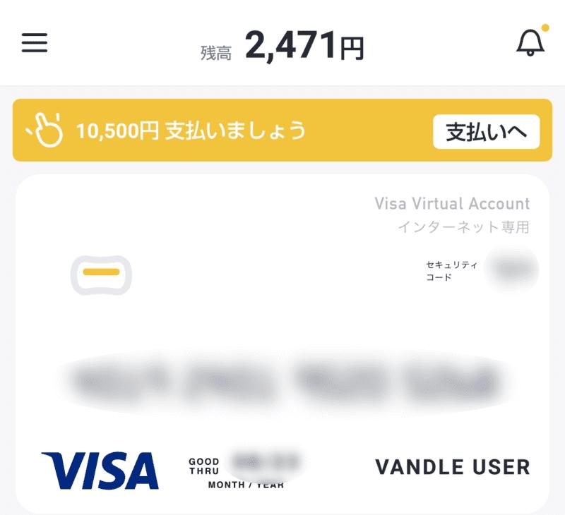 クレジットカードの代わりにバンドルカードを代用している画面の画像