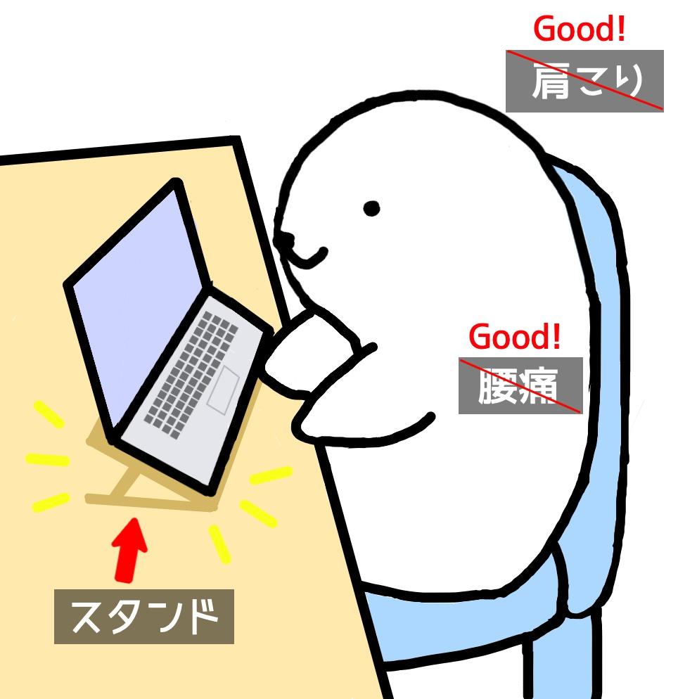 ノートパソコンスタンドで肩こり、腰痛を防止