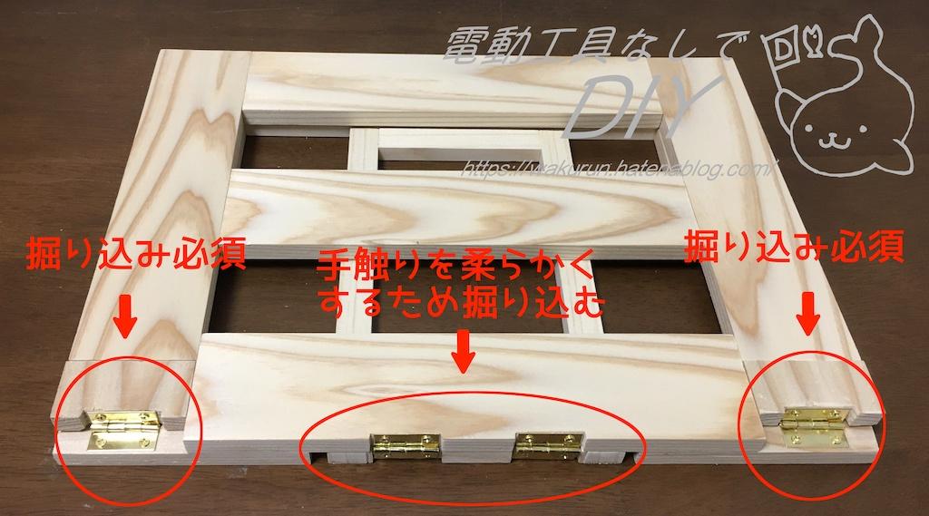 折り畳み式!木製ノートパソコンスタンド 蝶番掘り込み部解説
