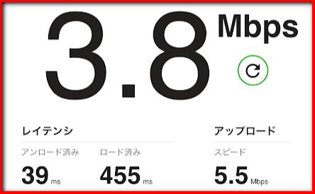 (iPad mini)テザリングの速度結果