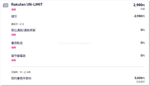 楽天アンリミットの申し込み画面