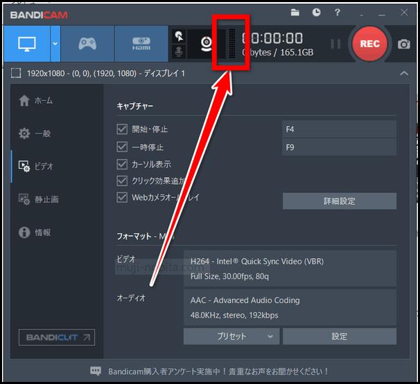 Bandicam(バンディカム)ソフト音量マイク