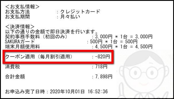 SAKURA WiFiのクーポンの割引のメール