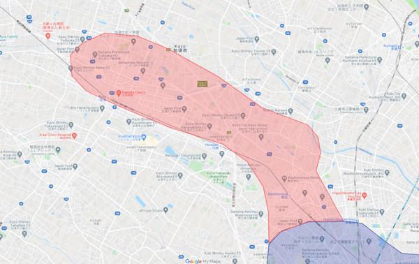 加須市の配達エリア