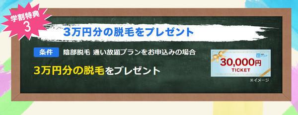 【学割特典3】陰部脱毛 通い放題プランをお申込みの場合3万円の脱毛をプレゼント