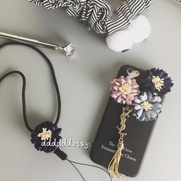 iphone7/6ケース 人気 芸能人 yslイヴ サンローランフリンジ付き立体花柄スマホケース アイフォン7 Plusソフト携帯カバー ストラップ付き