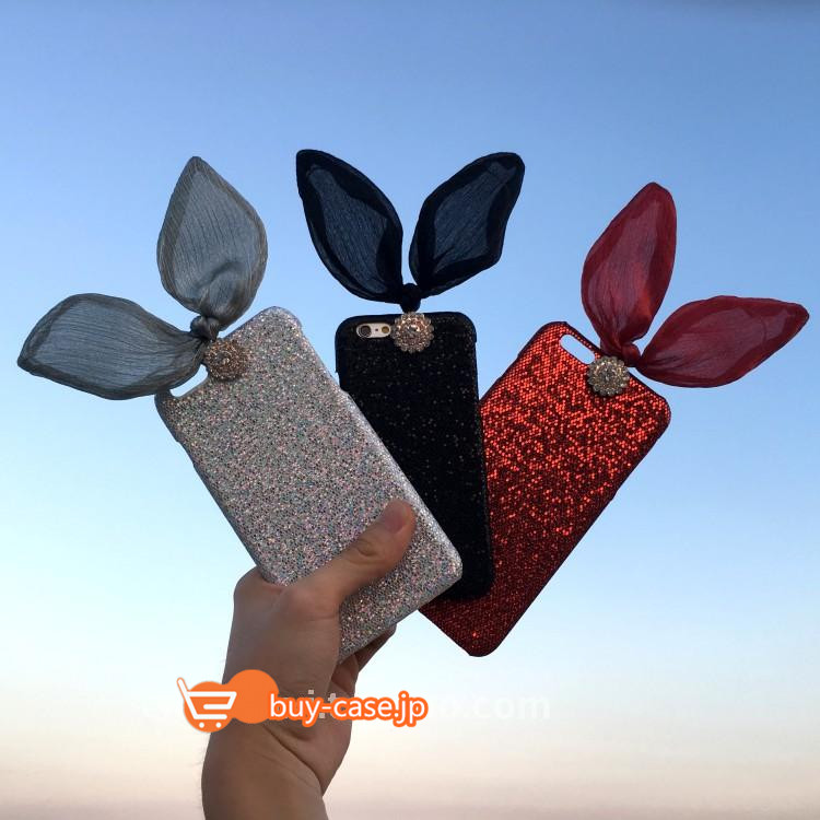 iPhoneケースs7 6S 6SPLUSリボン蝶むすび蝶結びきらきらダイヤモンド ストラップ付き個性的うさぎ耳兔ミミ携帯カバー レース設計綺麗かわいい
