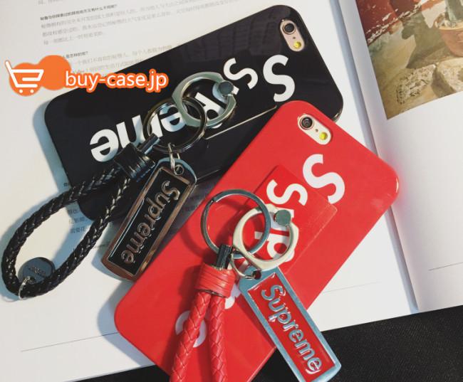 iphone7 ケース おしゃれ ブランドストリートファッションブランドsupremeカップル向けペアiphone6sシリコン製携帯カバーリング付きスタンド機能6plus保護5/5se赤い黒い