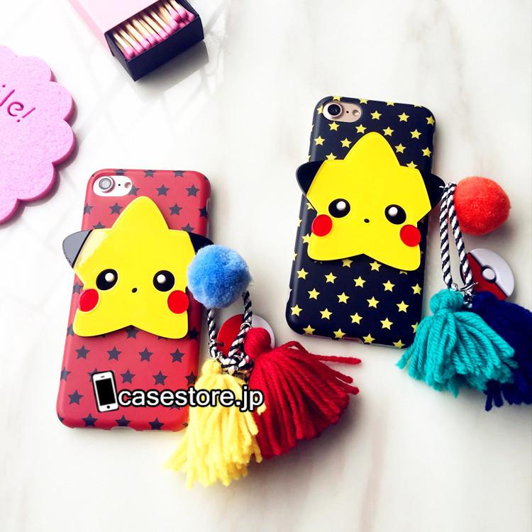 iphone7プラスケース韓国星五芒星6sピカチュウ フリンジ付き毛玉ふわふわソフトケースアイフォン6PLUS携帯カバー女子