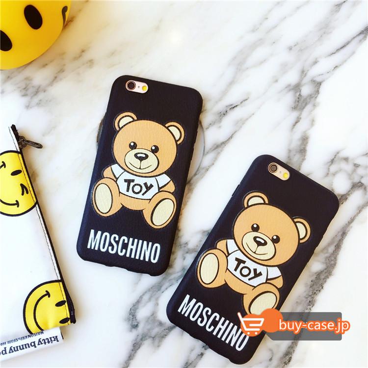 モスキーノ iPhone7女性芸能人アイドル熊クマくま6Sケース テディベアかわいいキャラクター アイフォン6plus保護カバー