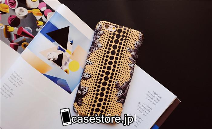 i phone case草間彌生黒黄色水玉 アイフォン6sケースiphone6 plusマット素材ハード保護カバーiPhone7