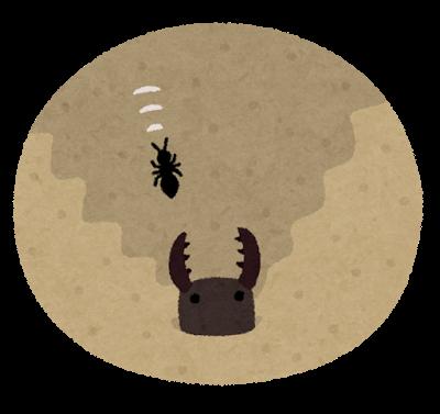 ありじごく(蟻地獄)の罠にかかって下に滑り落ちていくアリのイラストです。