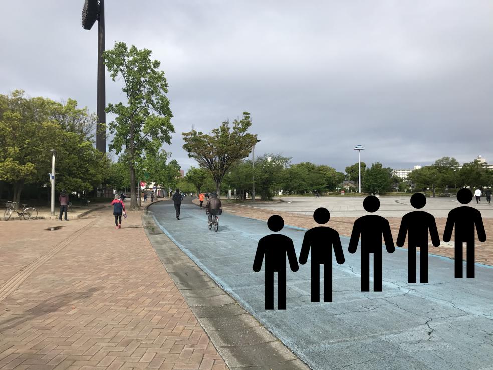 5人が等間隔で道幅いっぱい横に並んで歩く