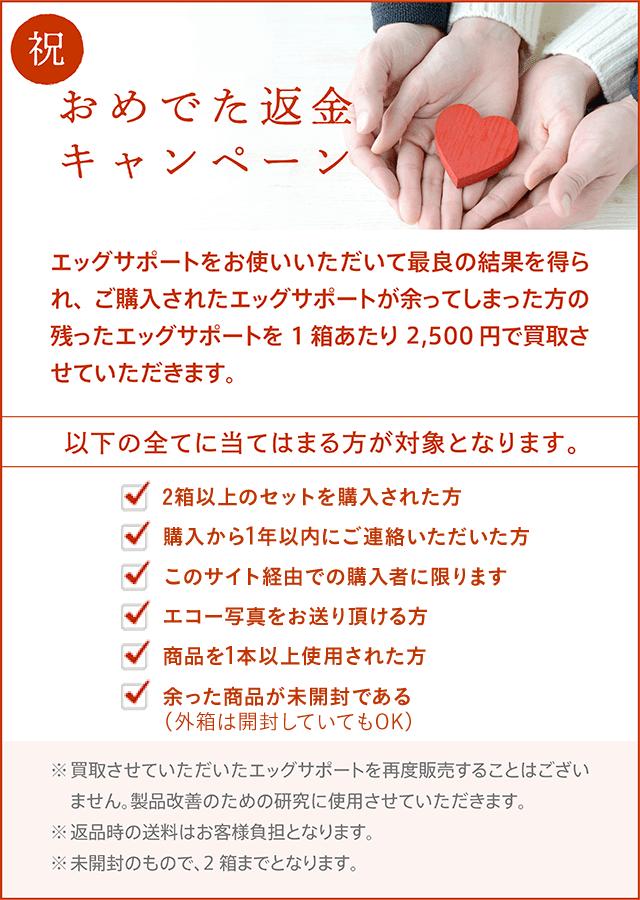 エッグサポート おめでた返金キャンペーンは安心安全で嬉しい!