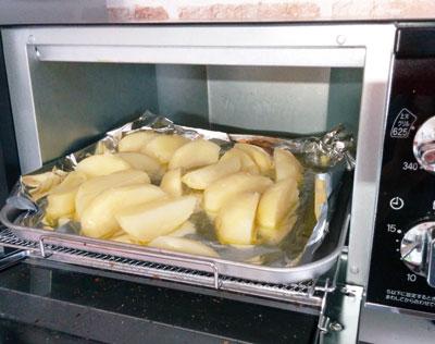蒸かしたジャガイモをトースターで焼く
