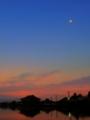 朝焼けと三日月と木星と金星
