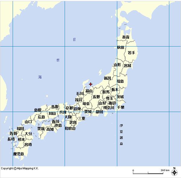 日本地図緯度経度付き(「マピオン」より) 個別「[地図] 日本地図緯度経度付き(「マピオン...