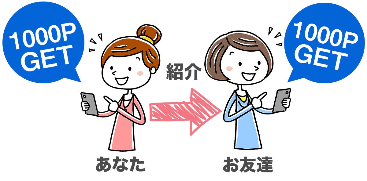 友達紹介で1000円GET