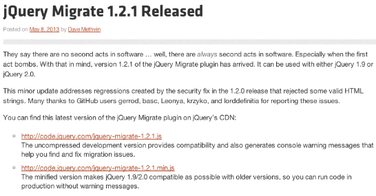 http://blog.jquery.com/2013/05/08/jquery-migrate-1-2-1-released/