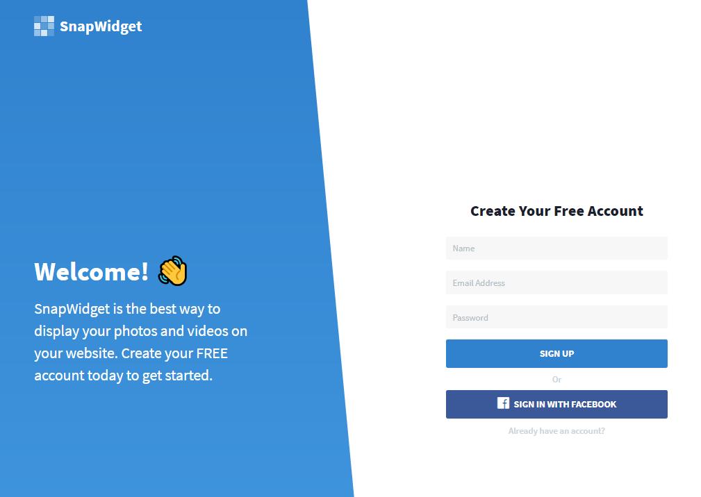 インスタウィジェット埋め込みSnapWidgetサインアップ画面