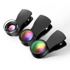 Qtop クリック付きカメラレンズキット 3点セット(魚眼レンズ 20xマクロレンズ 0.36x広角レンズ)