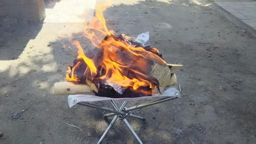 自作焚火台の燃焼テスト