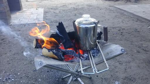 自作焚火台で湯沸かし